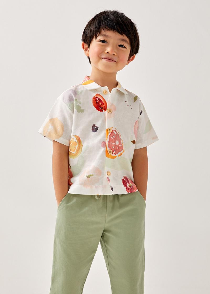 Zene Linen Button Down Unisex Shirt in Fruity Harvest