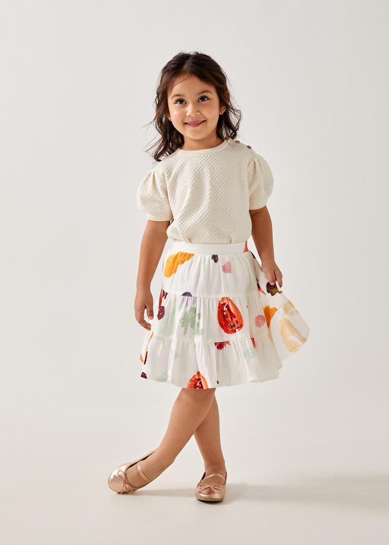 Jora Tiered Elastic Waist Skirt in Fruity Harvest