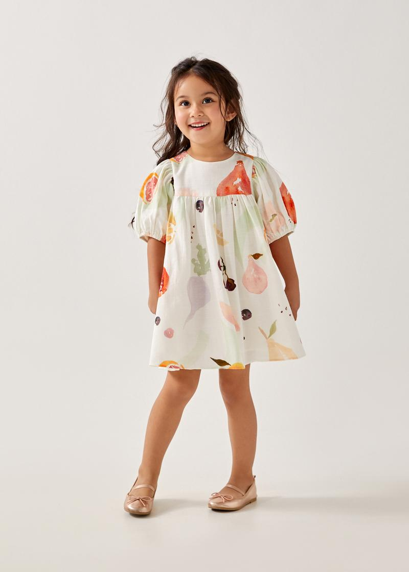 Omri Cotton Babydoll Dress in Fruity Harvest