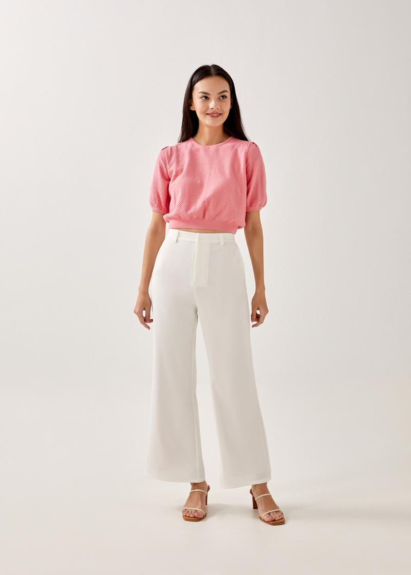 Blanca Textured Knit Cropped Top
