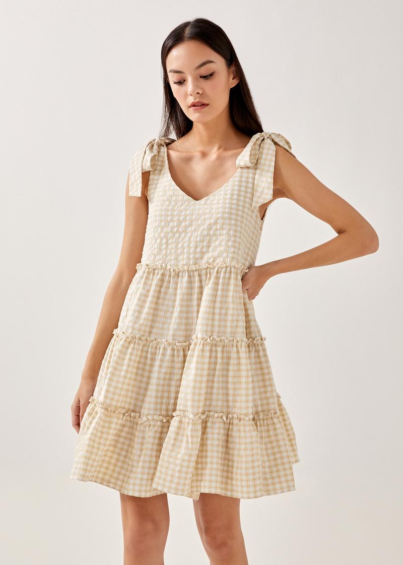 Olivie Tiered Gingham Dress