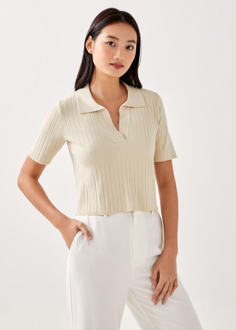 Steffi Relaxed Polo Knit Crop