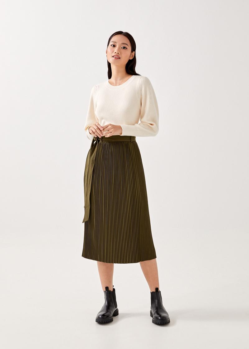 Bailey Pleated A-line Skirt