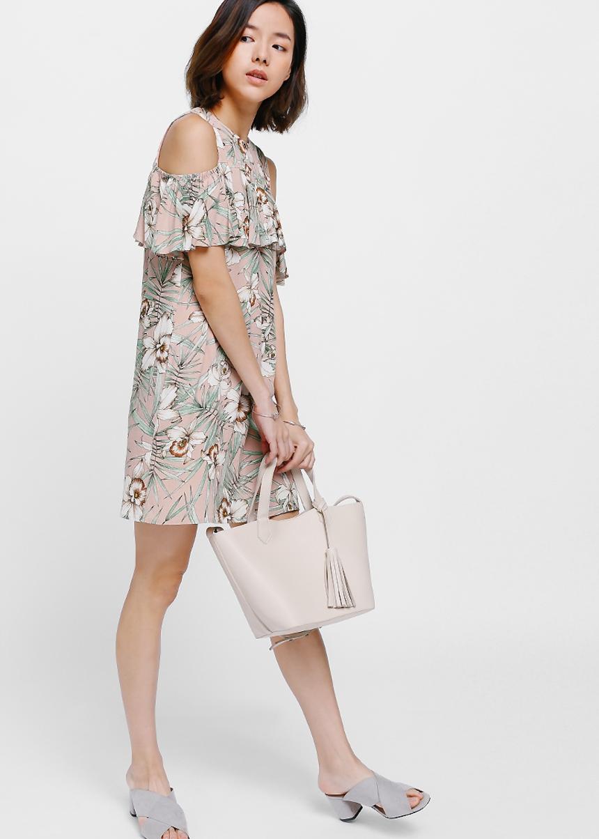 Alina Printed Cutout Shoulder Dress
