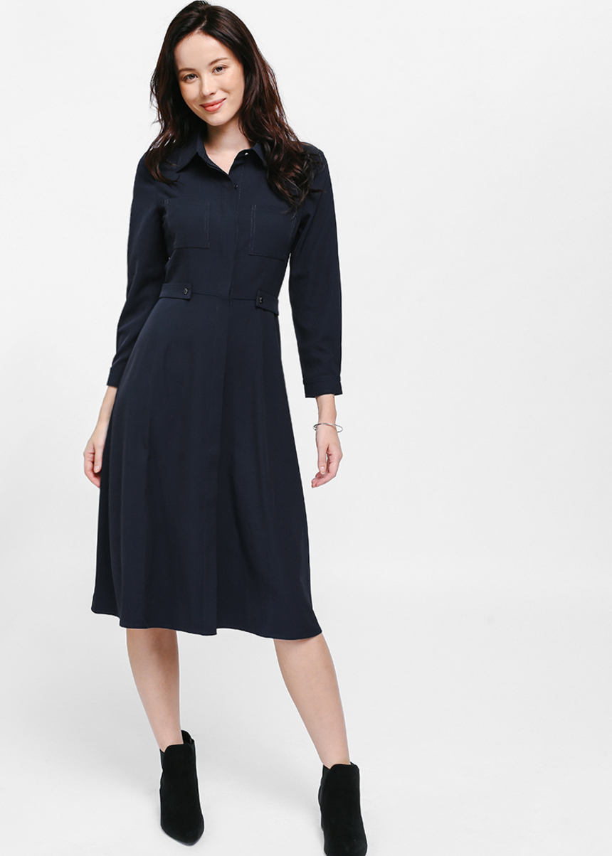 Lynvin Side Tab Pocket Shirt Dress