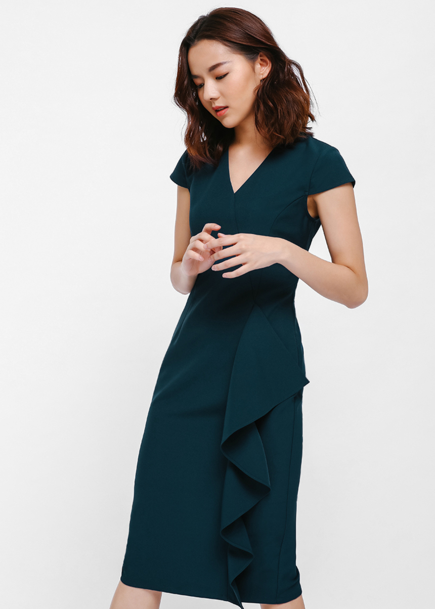 Cassanda Cascade Ruffle Midi Dress