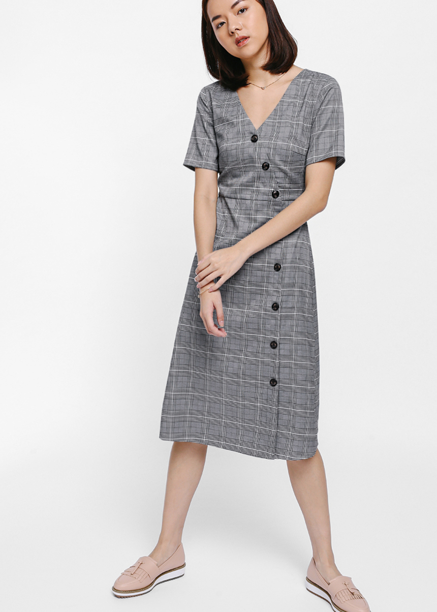 Prischa Tweed Crossover Button Dress