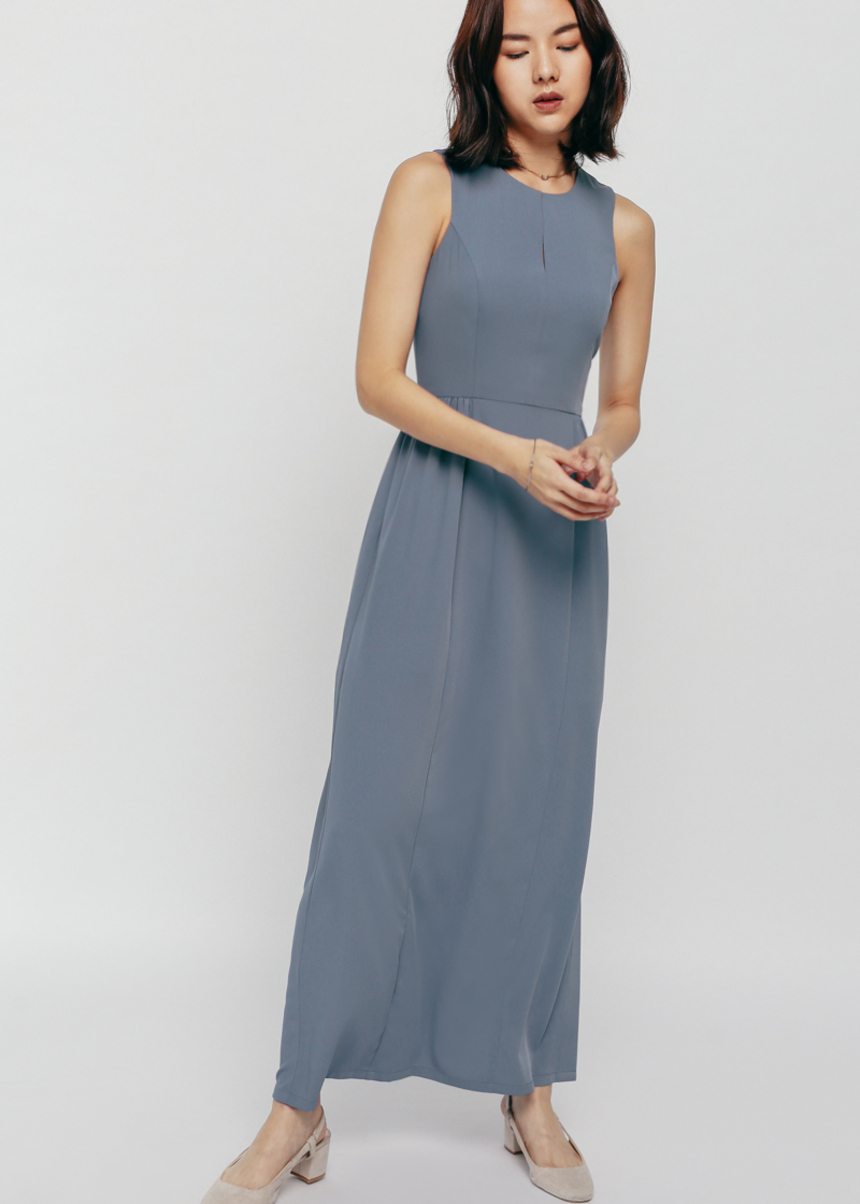 Felgiy Ruched Keyhole Maxi Dress