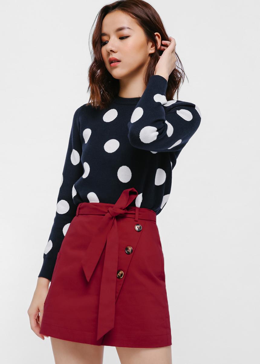 Glounia Sash Button Mini Skirt