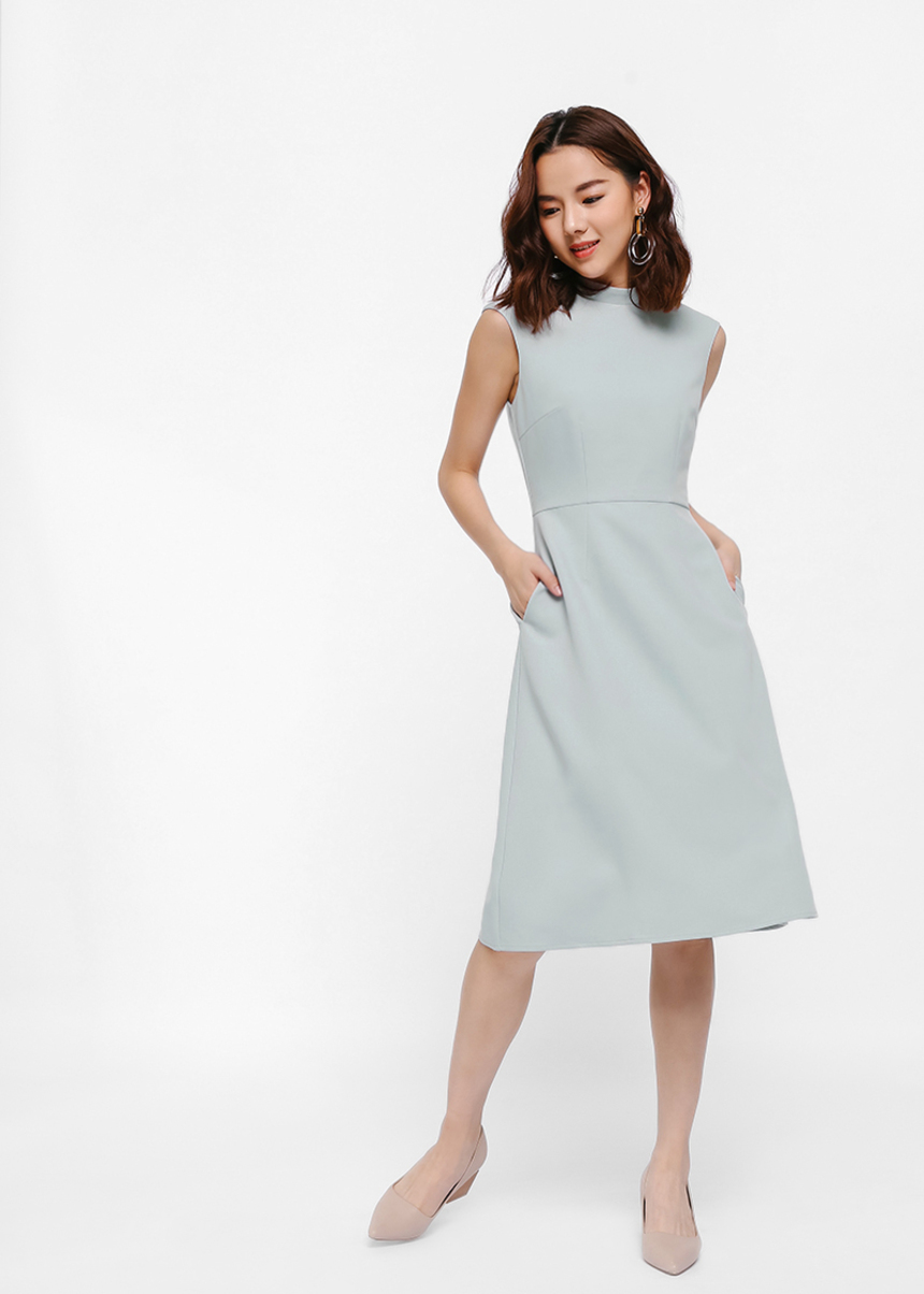 High Neck Midi Flare Dress