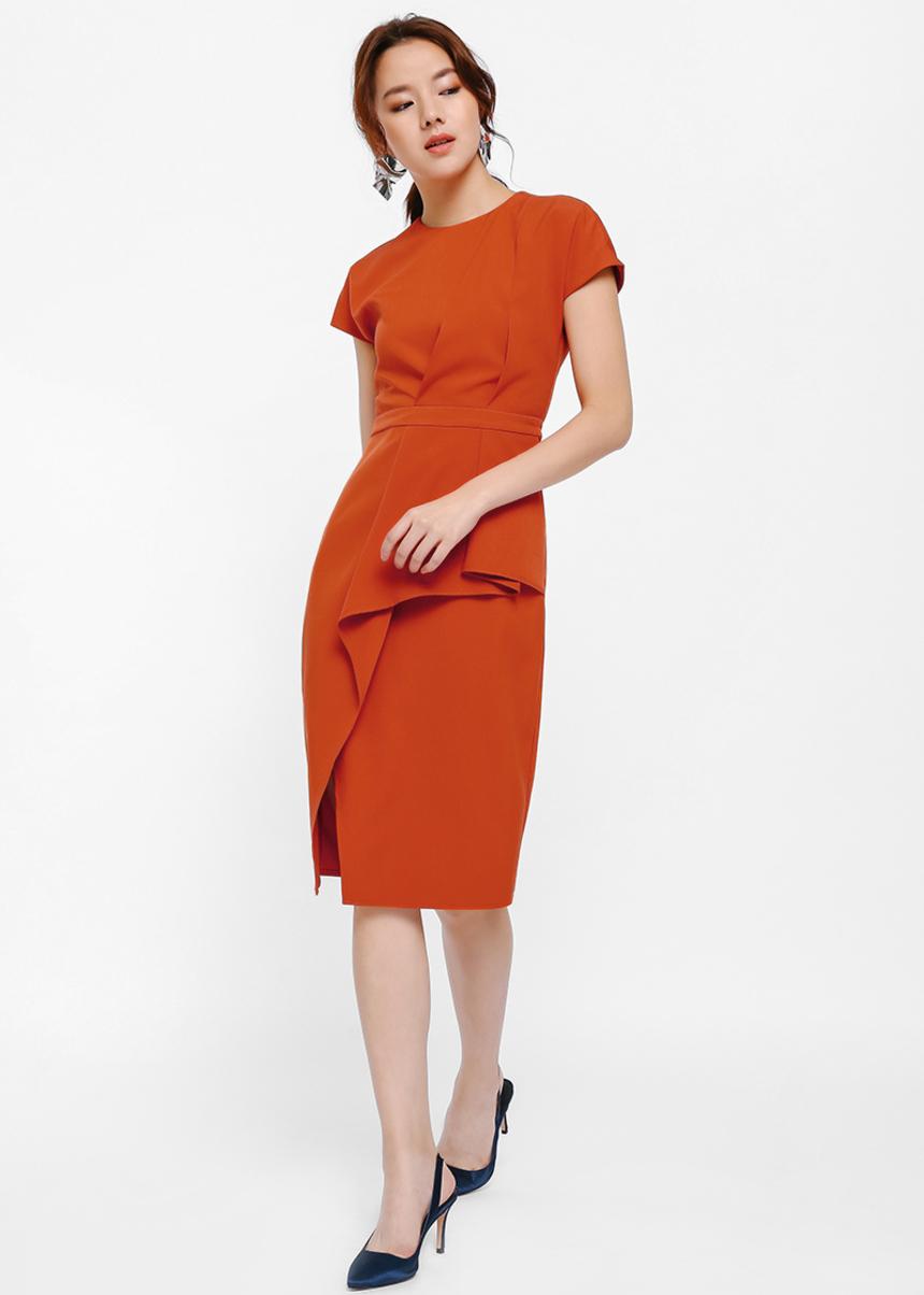 Aspen Pleated Detail Midi Dress