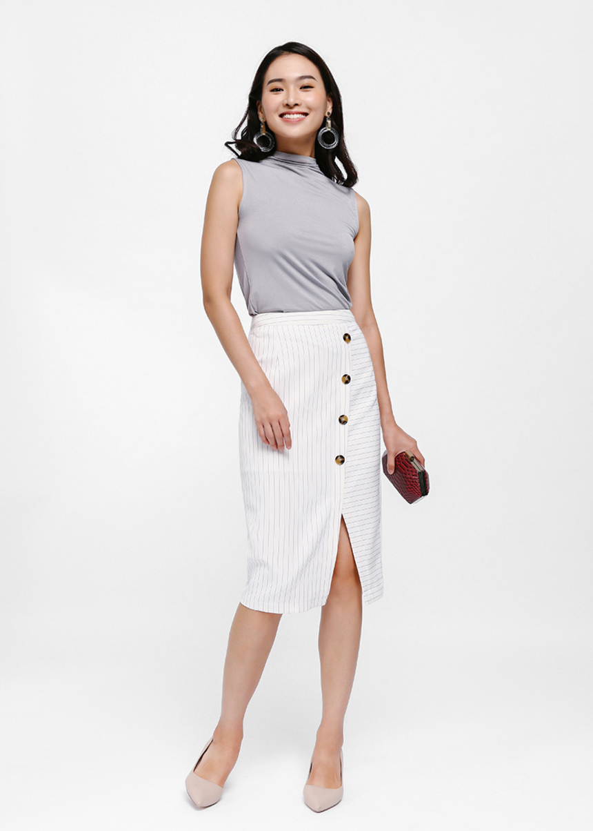 Vetrine Button Detail Pencil Skirt