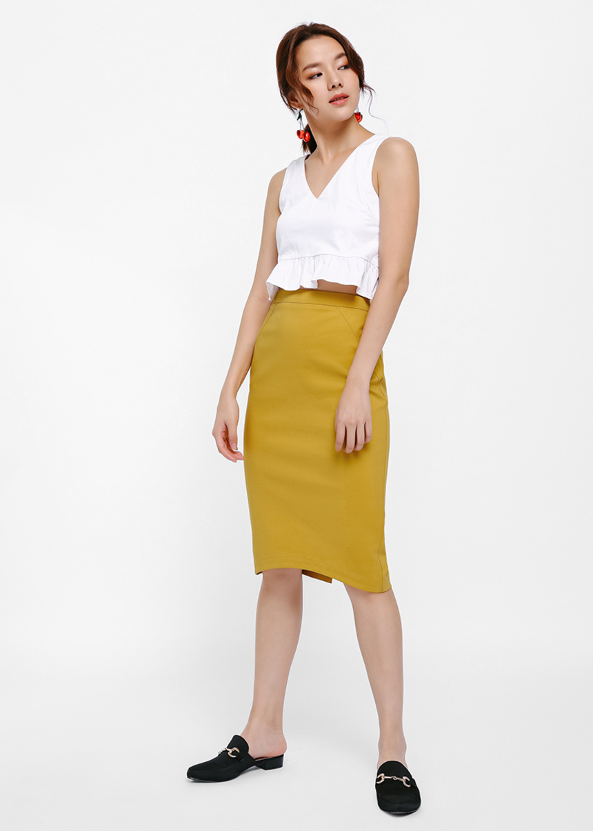 Jelaqis Curved Hem Pencil Skirt