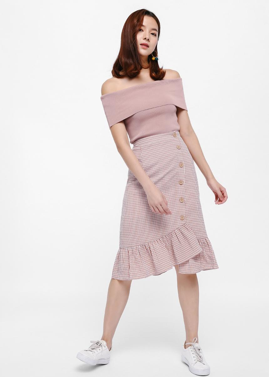 Ress Gingham Button Detail Skirt