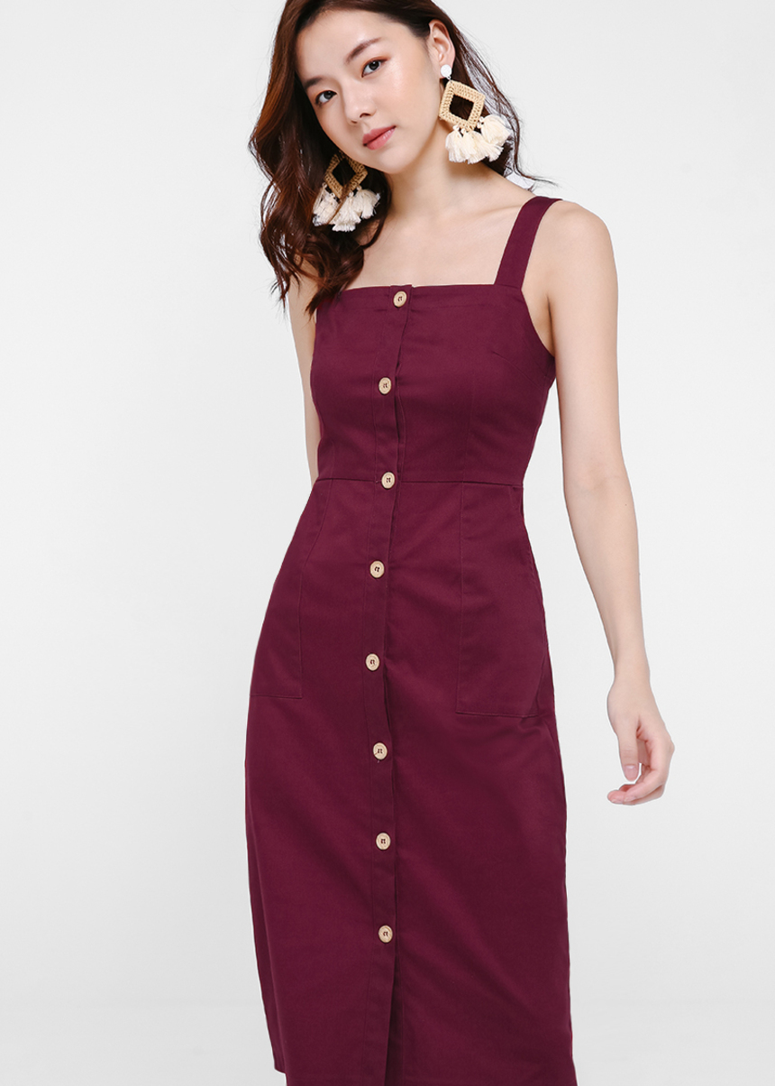 Altara Button Up Apron Midi Dress