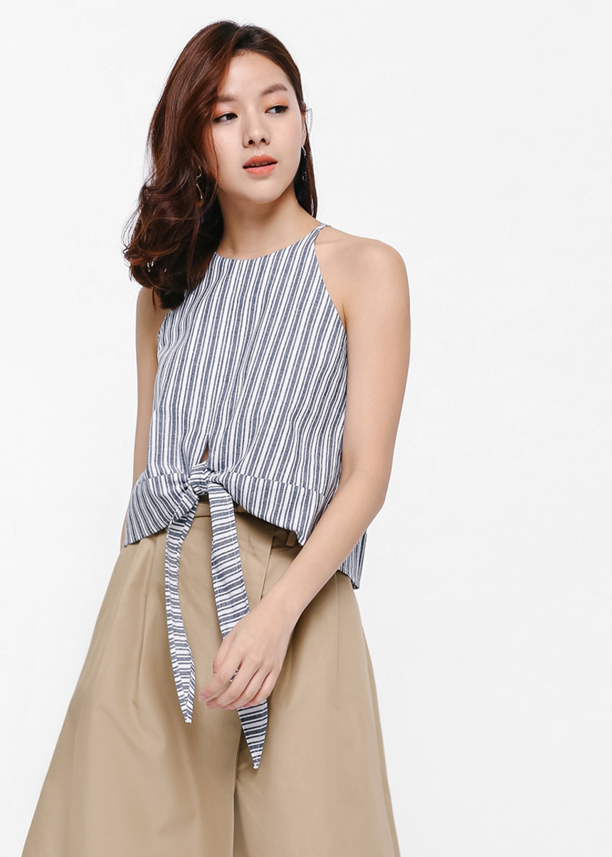 Ulysses Tie-front Halter Neck Crop Top