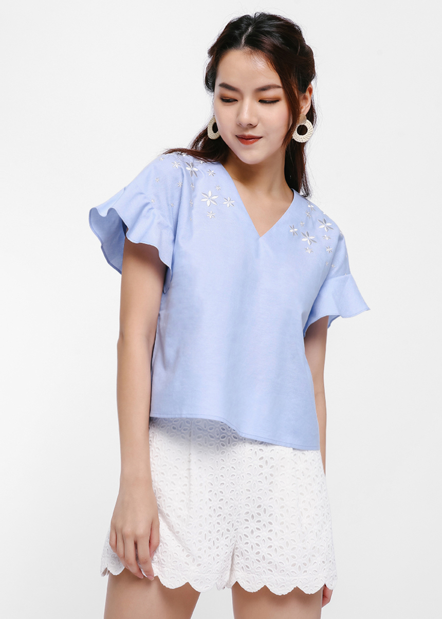 Frelena Embroidered Flutter Cap Sleeve Top