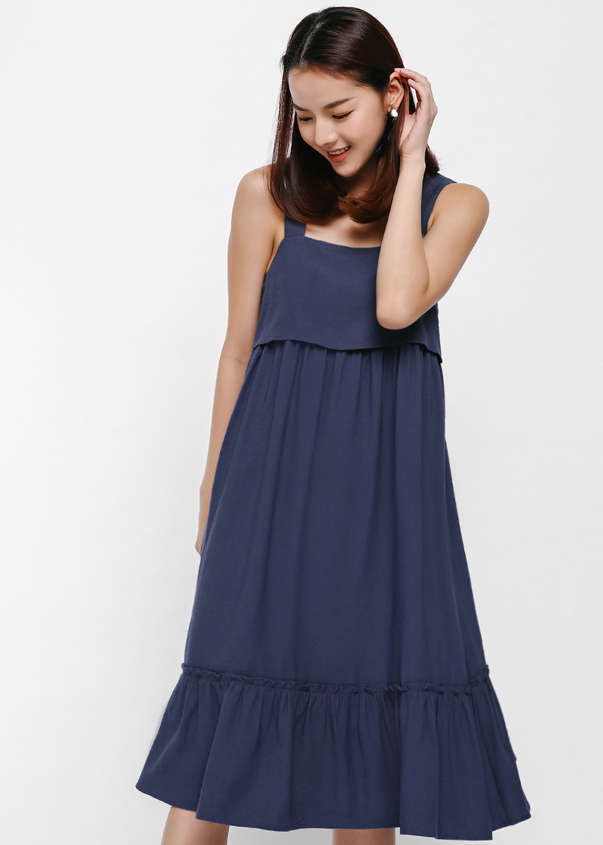 Roseni Ruffle Hem Layered Apron Dress