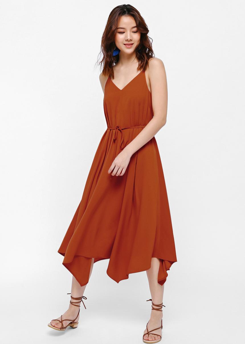 Gisele Kerchief Hem Midi Dress