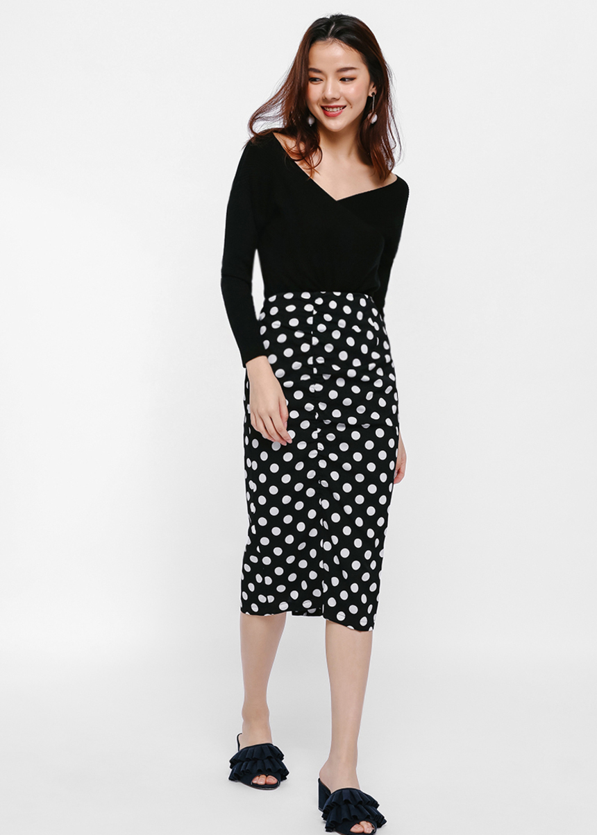 Urara Polka Dot Print Pencil Skirt