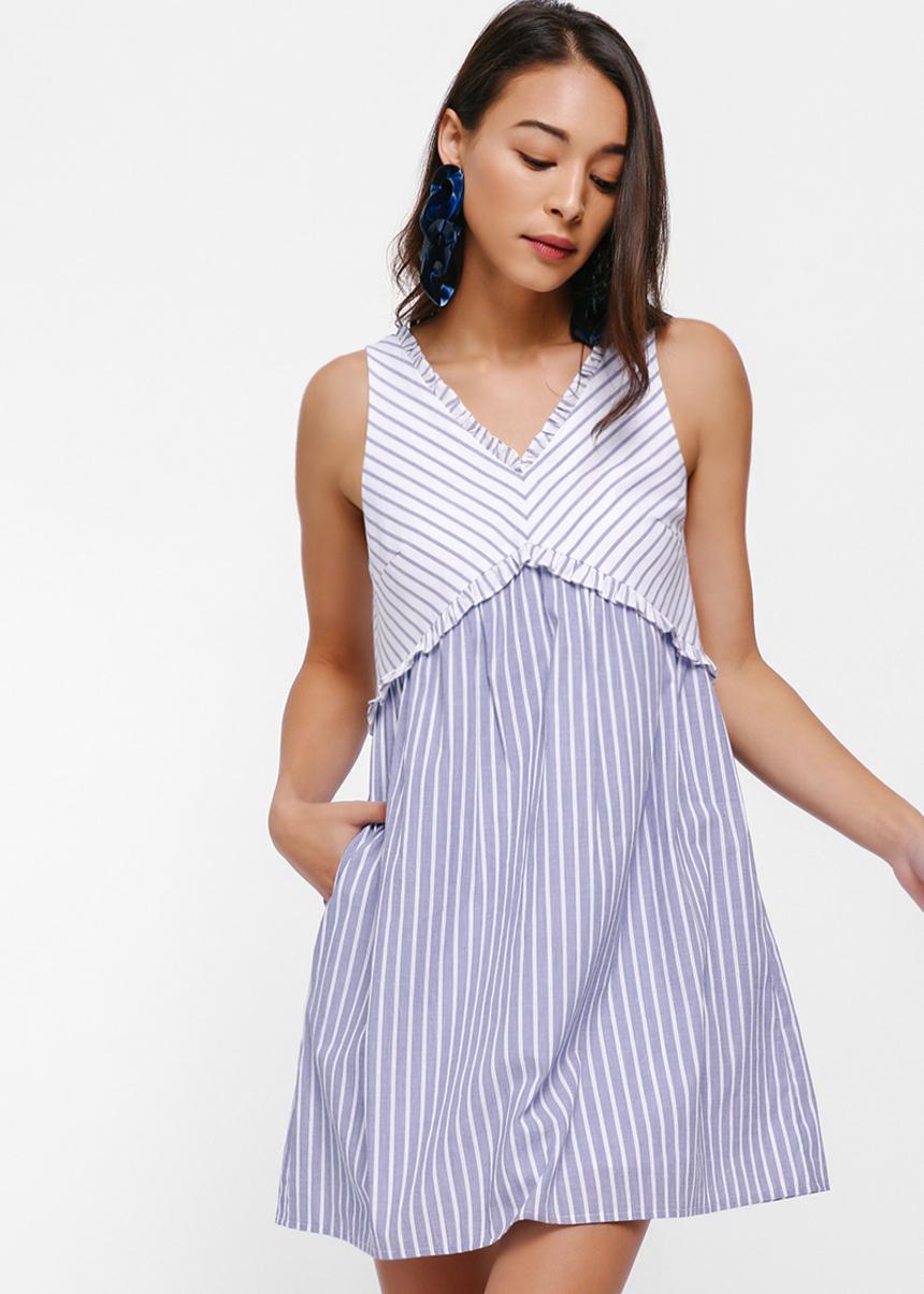 Priscille Empire-line Pinstripe Dress