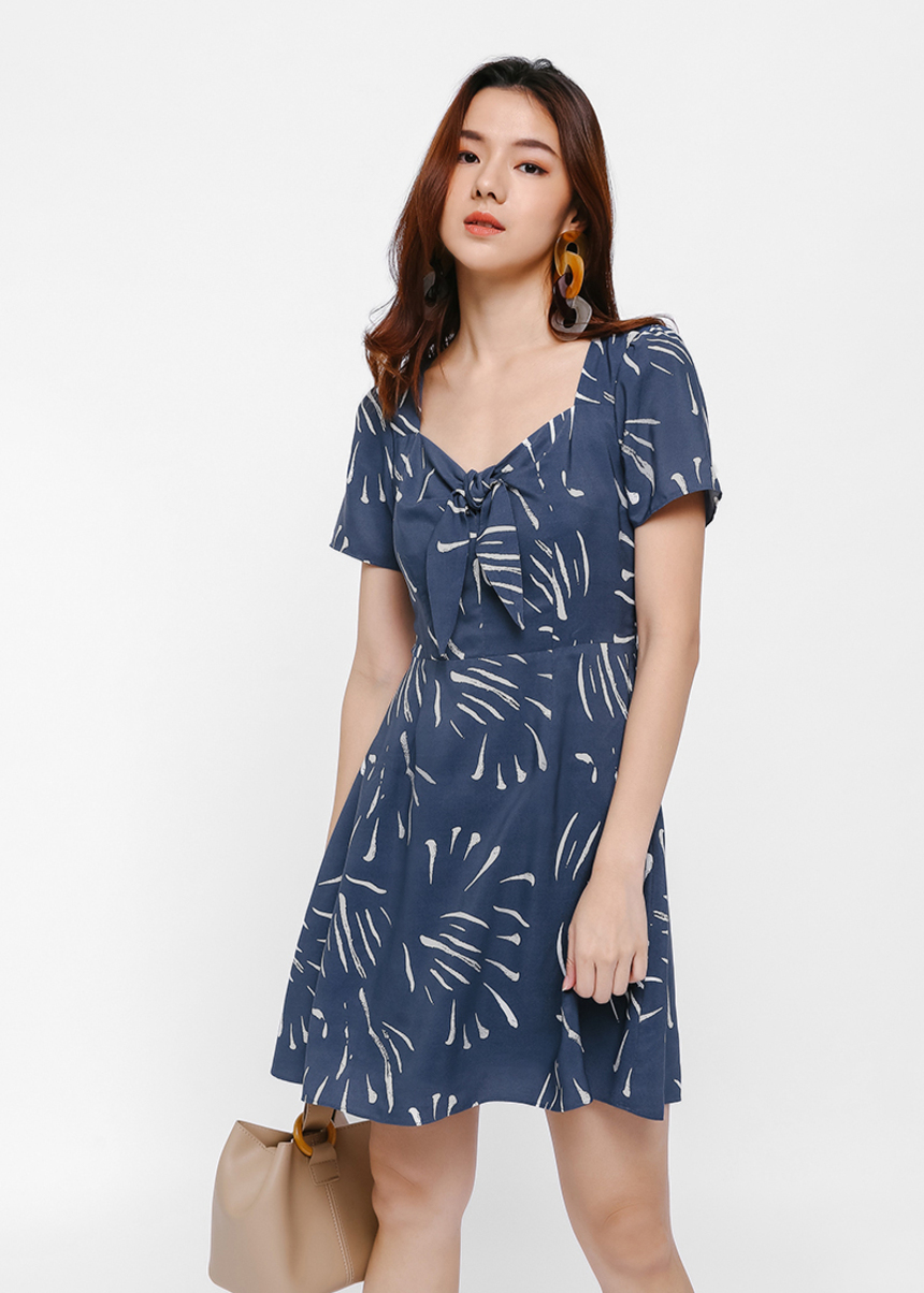 Mellie Printed Tie-front Dress