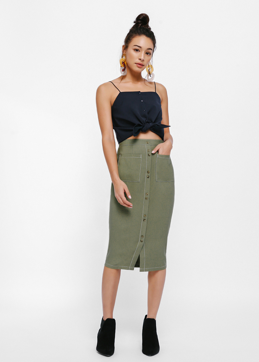 Maier Contrast Stitching Button Up Pencil Skirt