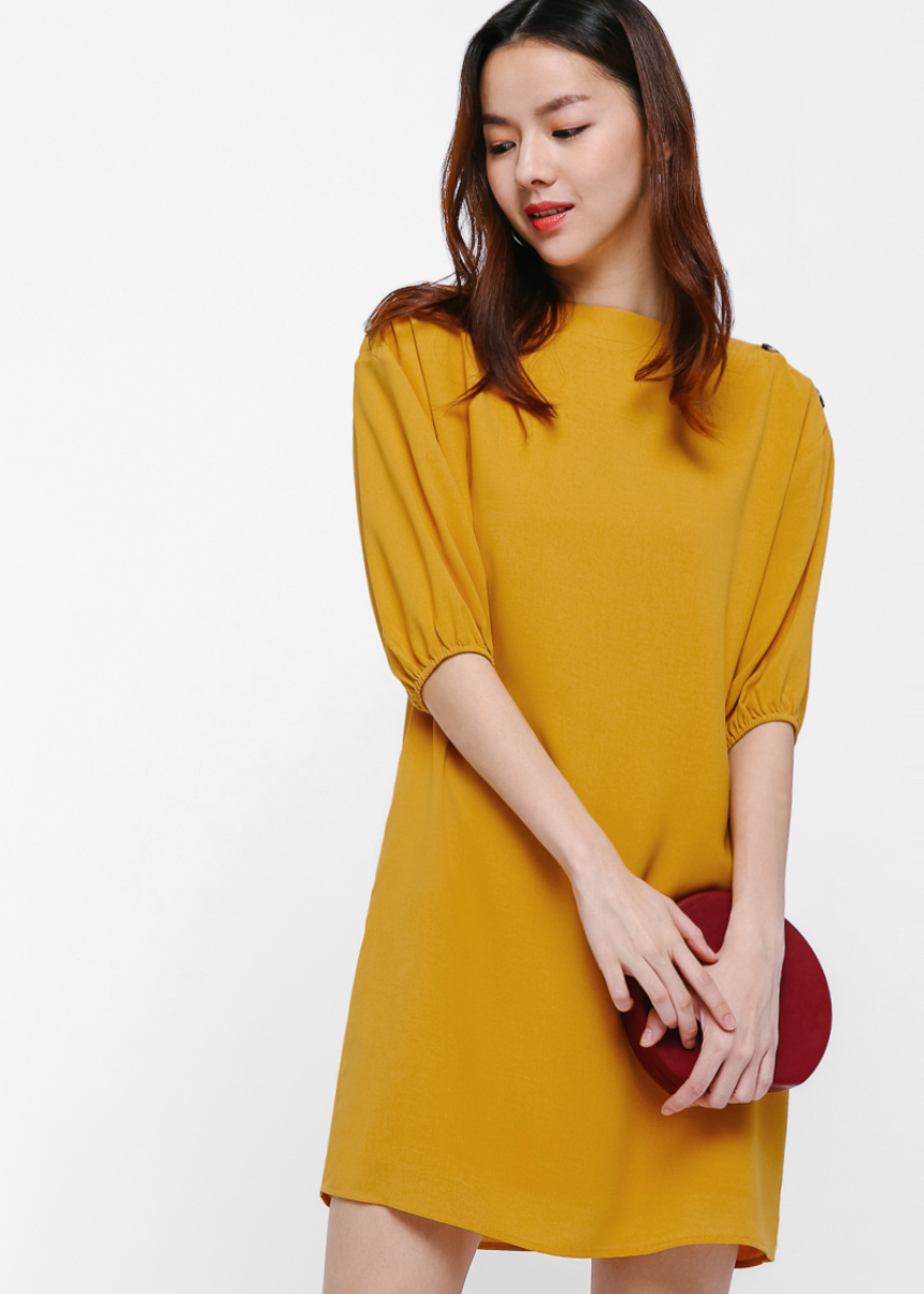 Fayola Puff Sleeve Shift Dress