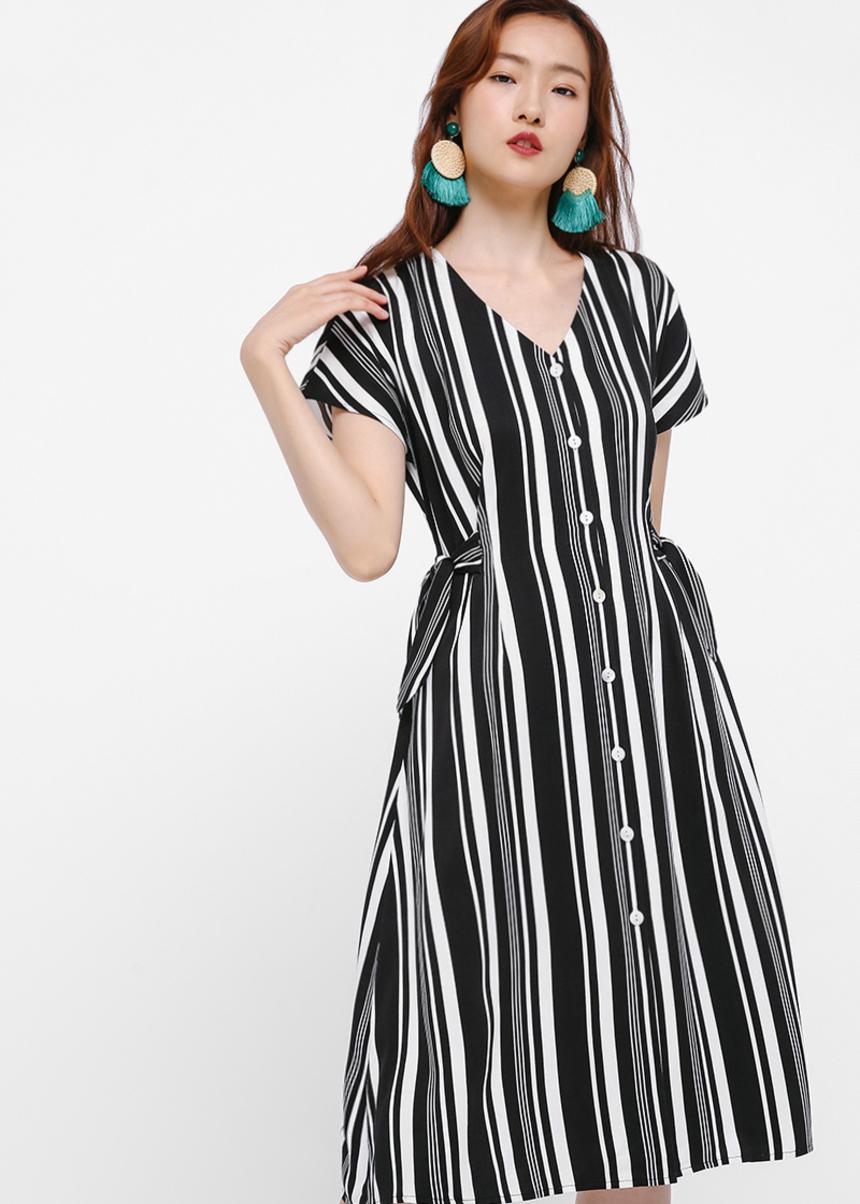 Melvina Ribbon Tie Midi Dress