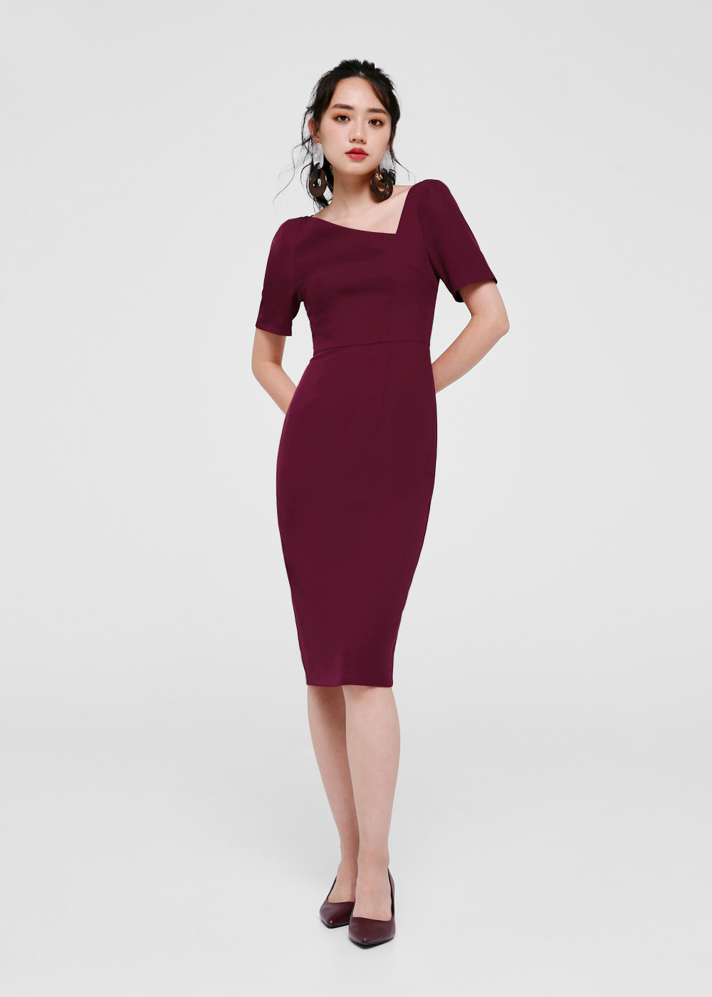 Rosetta Asymmetrical Neckline Dress