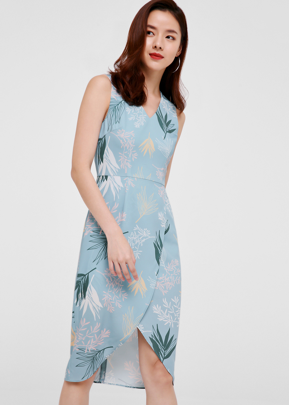 Liane Printed Foldover Midi Dress