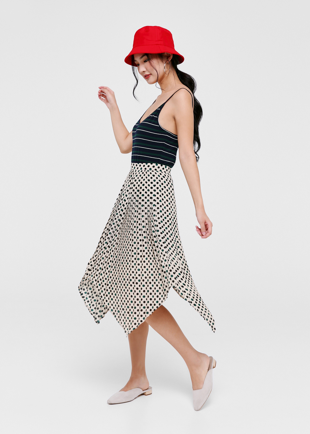 Ellis Polka Dot Asymmetrical Skirt