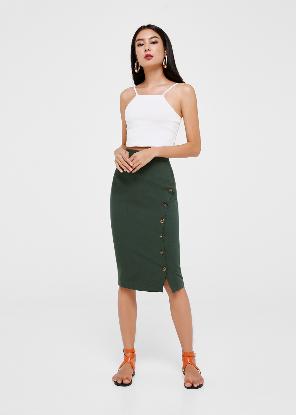Ayla Button Front Pencil Skirt