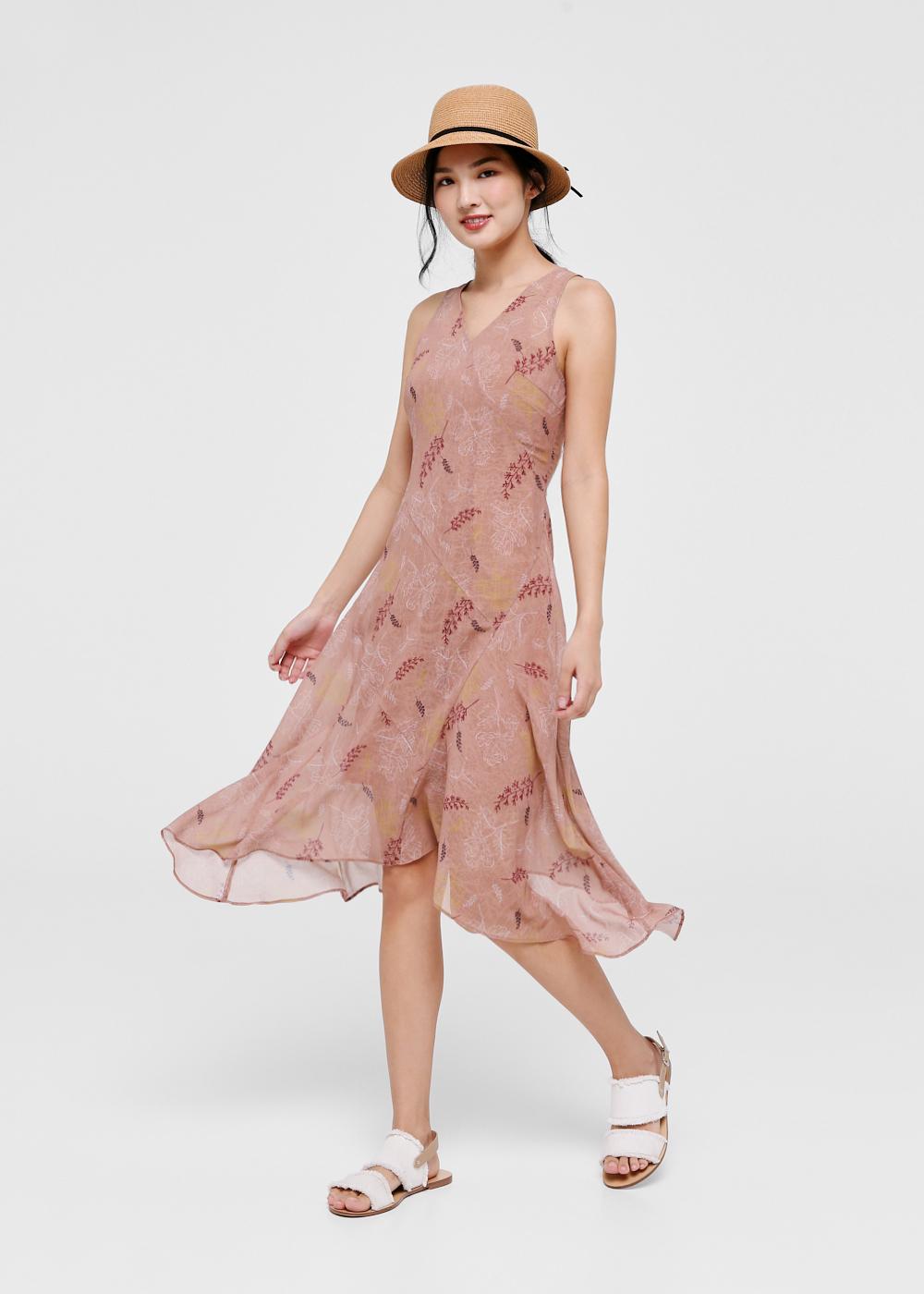 Florence Printed Asymmetrical Hem Midi Dress