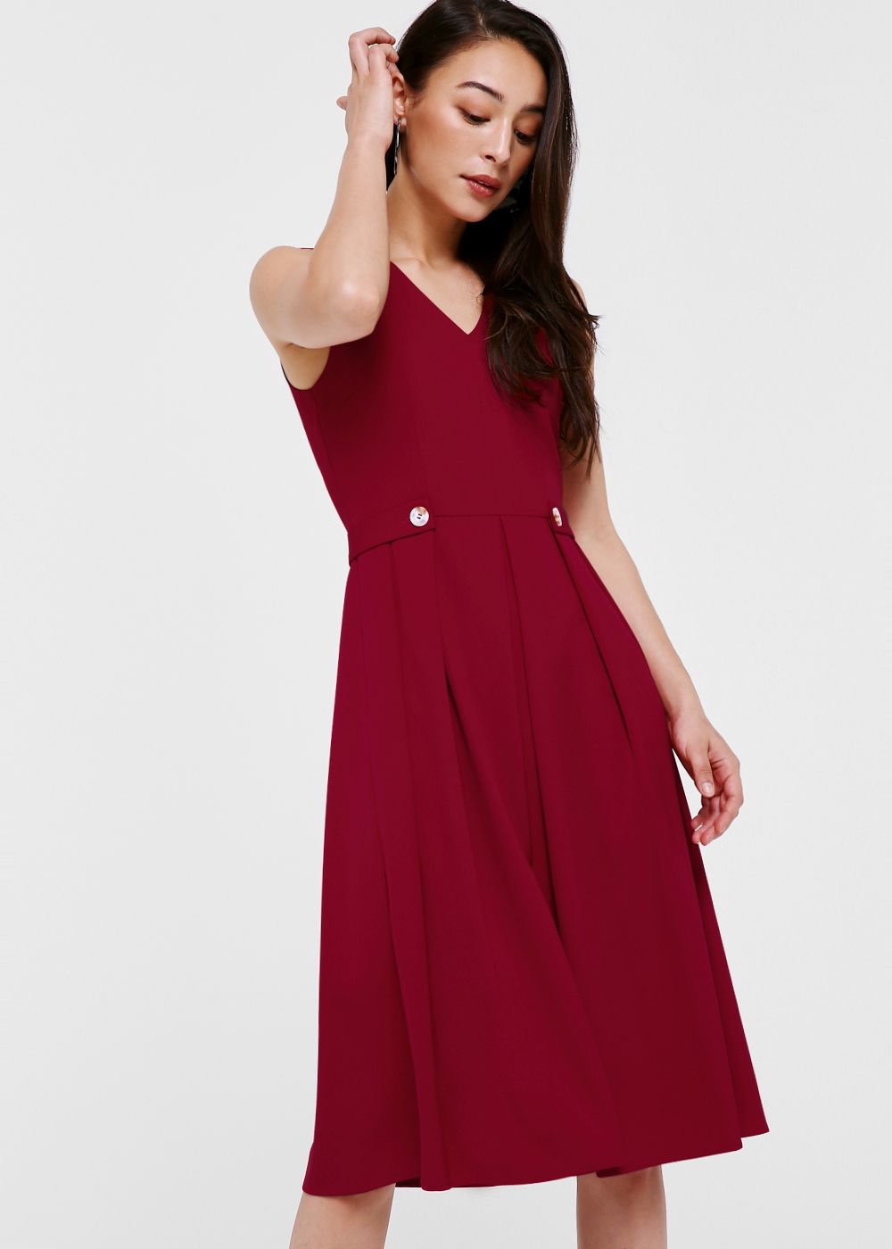 Zeina Button Front Pleated Dress