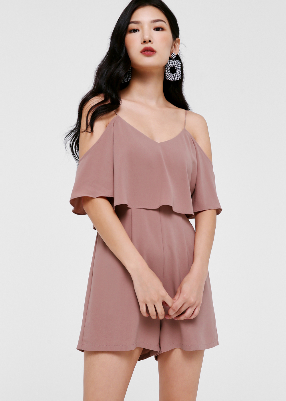 Estelle Overlay Cold Shoulder Romper