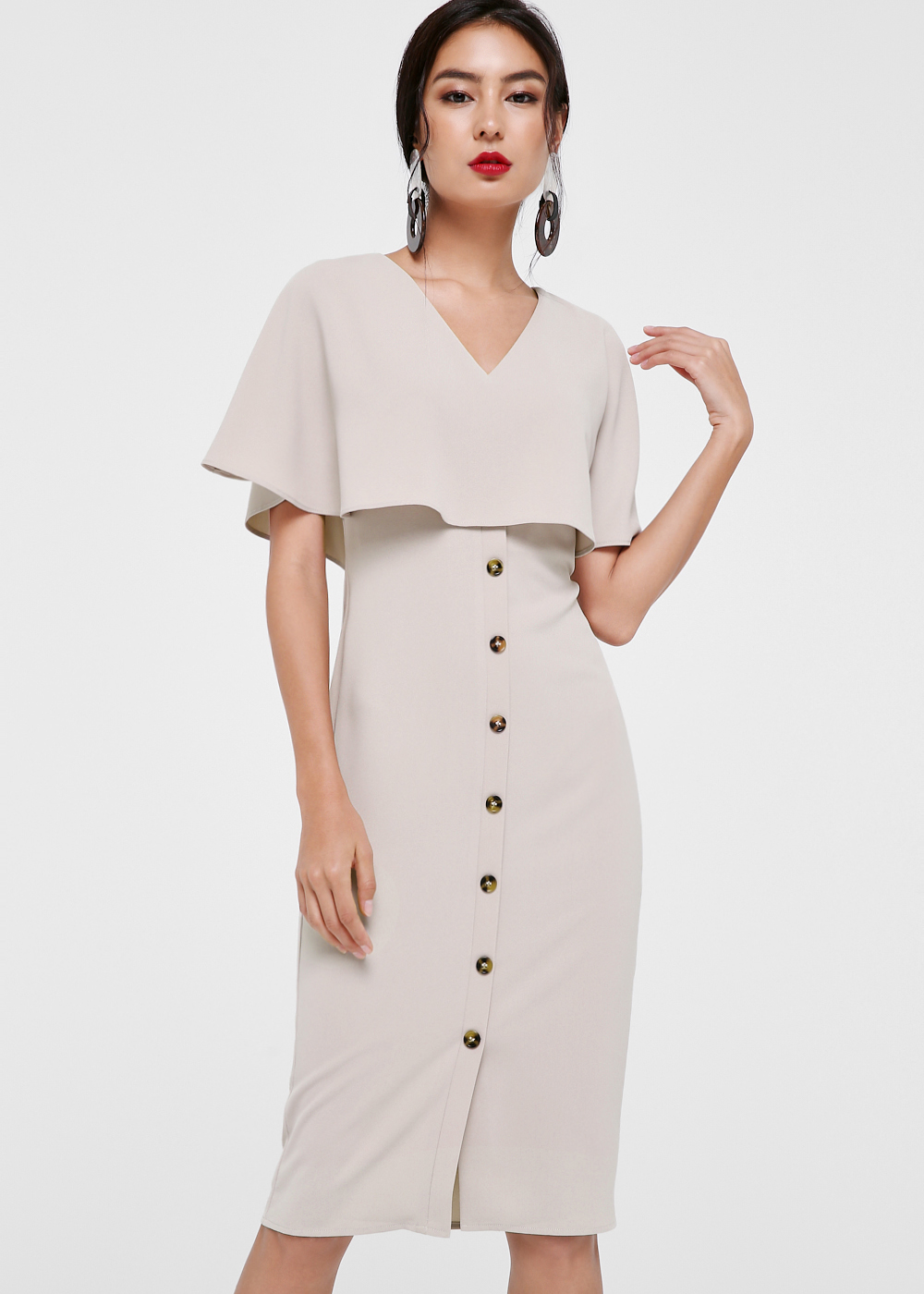 Ximena Cape Overlay Midi Dress