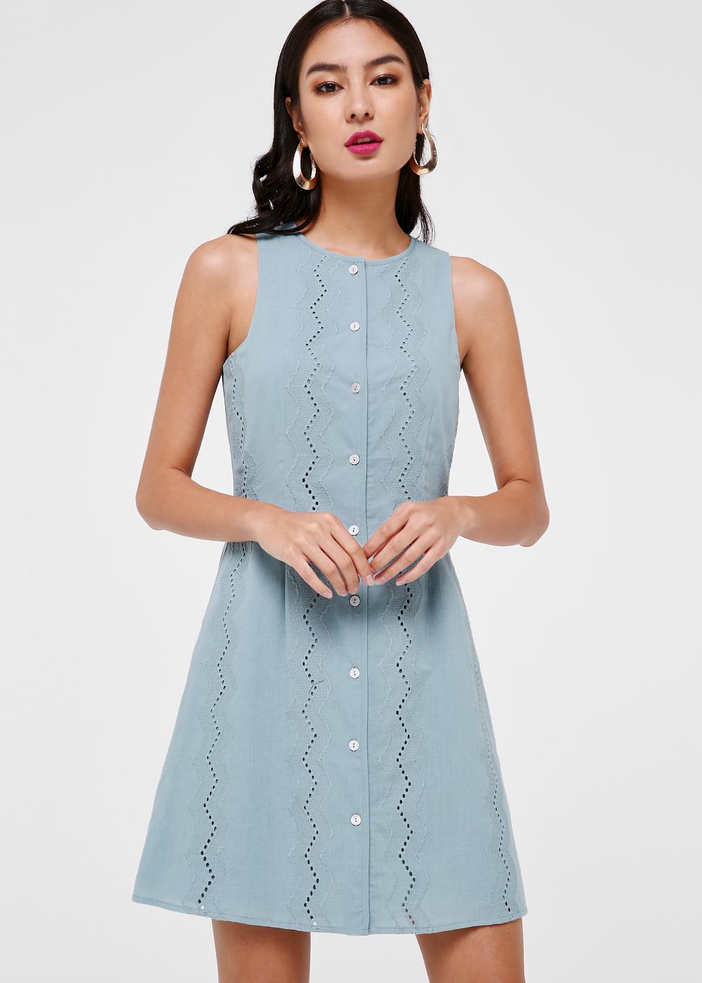 Valencia Broderie Anglaise A-line Dress