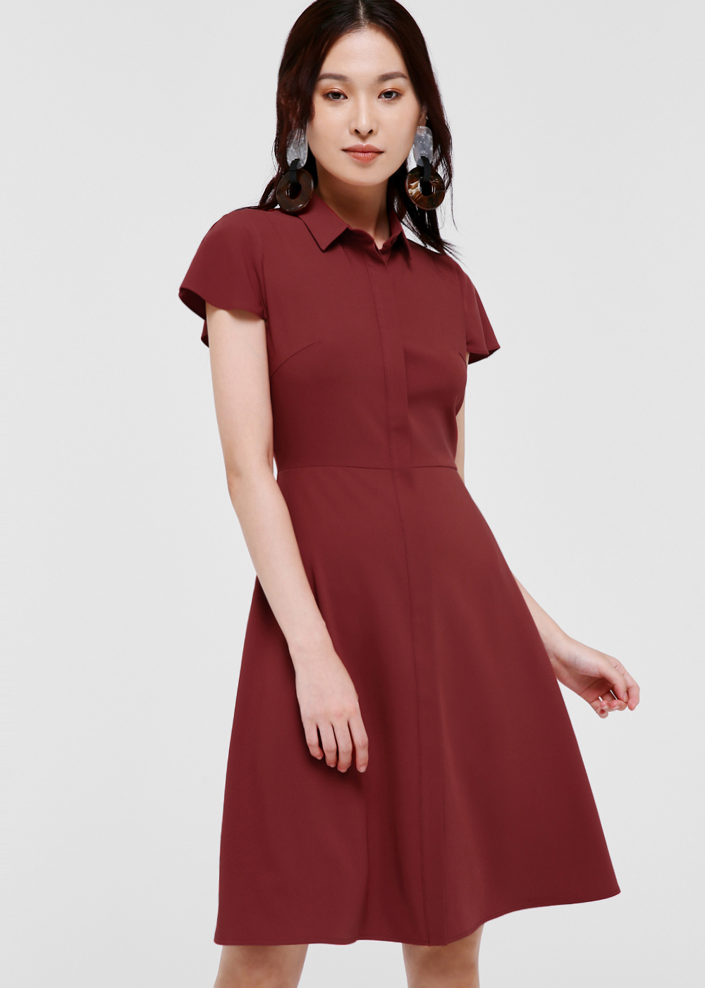 Shania Cape Sleeve Shirt Dress