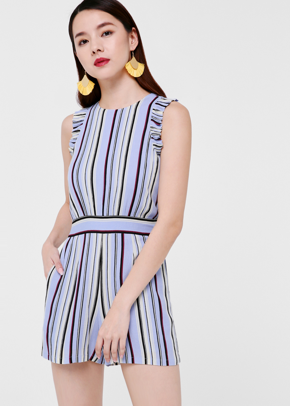Cacey Striped Ruffle Sleeve Romper