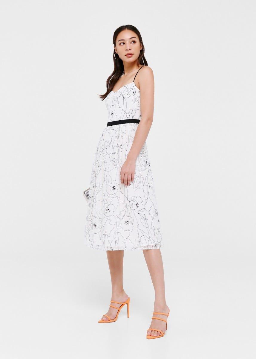 Zoya Print Overlay Midi Dress
