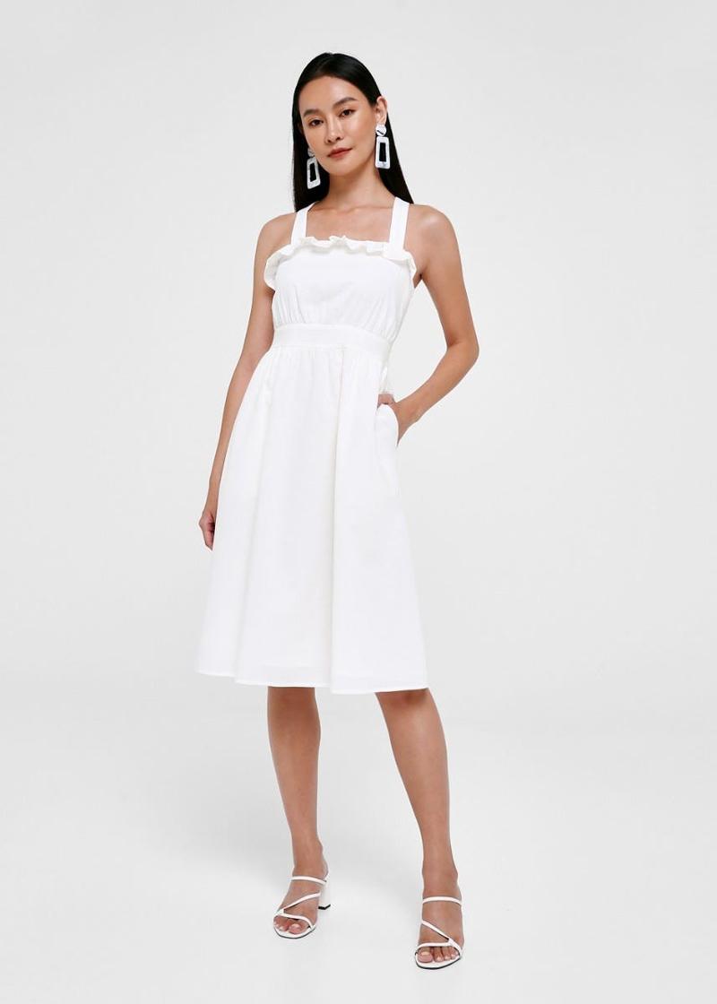 Leyla Cross Back Linen Dress