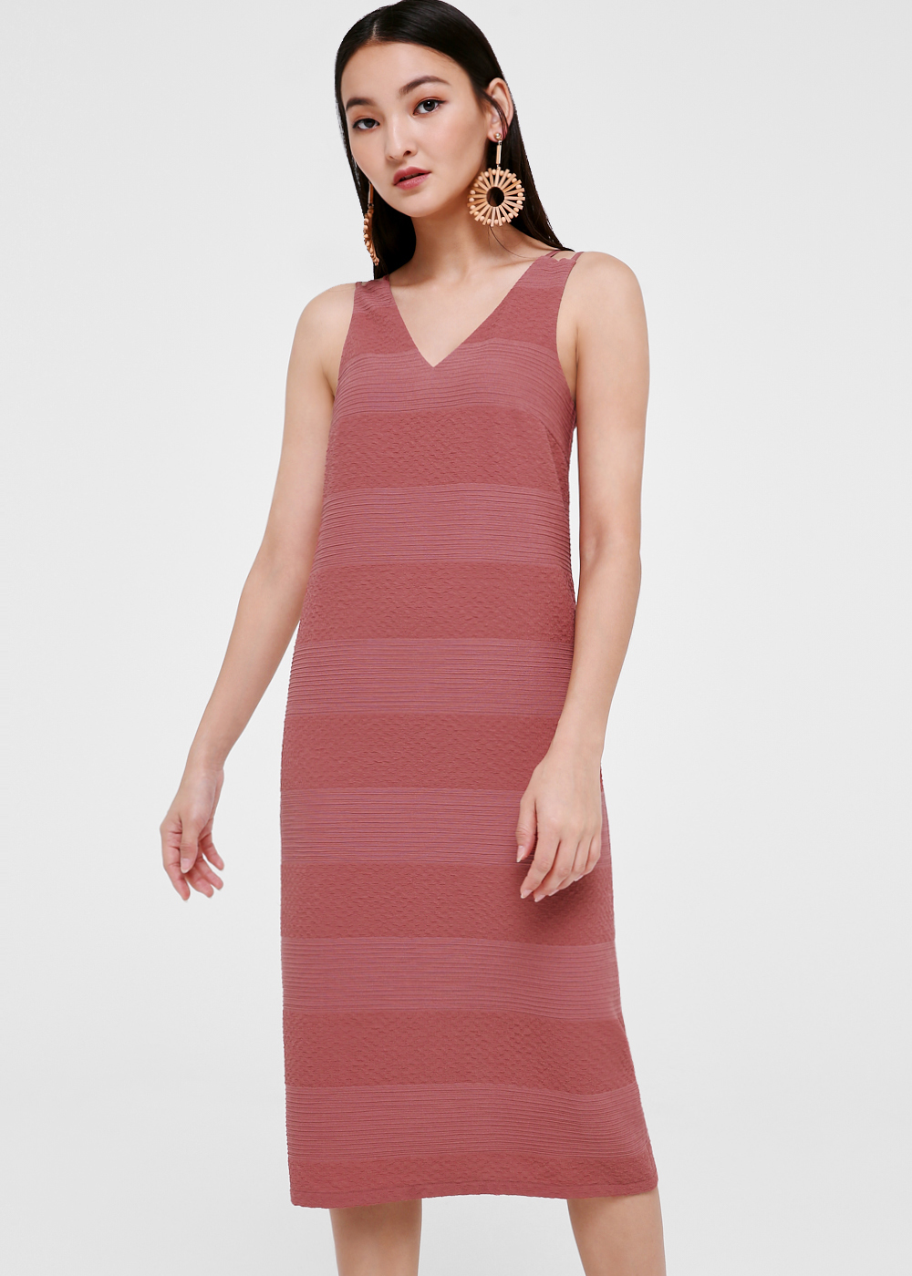 Shevonne Strappy Textured Midi Dress