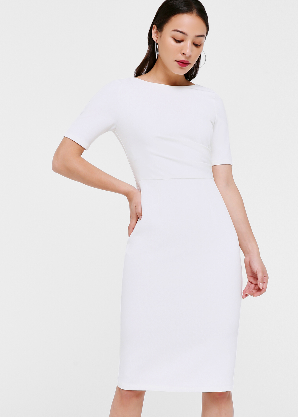 Cordelia Pleated Low-back Midi Dress