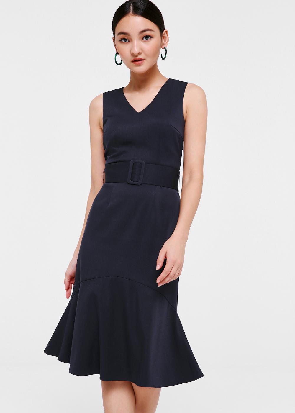 Alora Belted Ruffle Hem Midi Dress