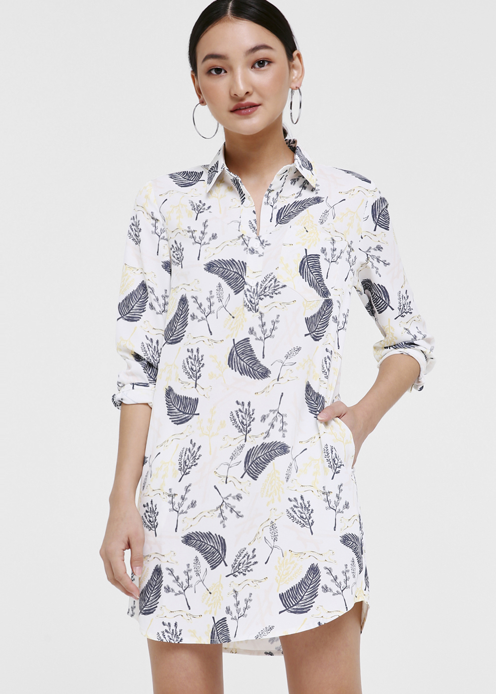 Sasha Button Front Shirt Dress in Jungle Mania