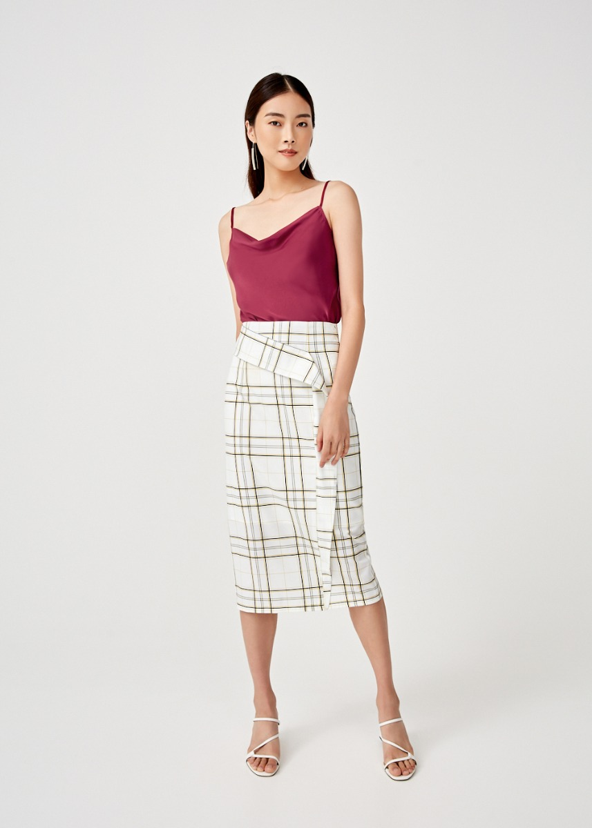 Livia Drape Midi Pencil Skirt in Tuscany Check