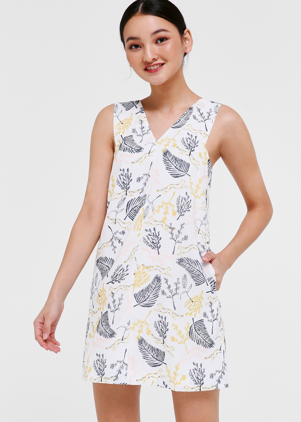 Hana V-neck Shift Dress in Jungle Mania