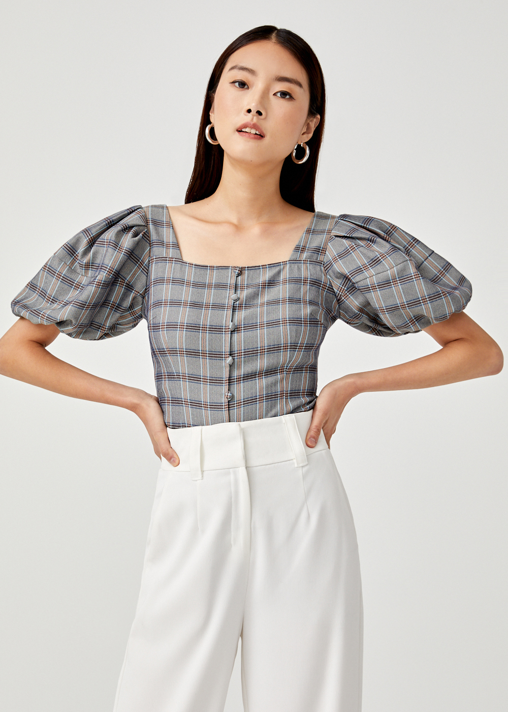 Nathalie Plaid Balloon Sleeve Top