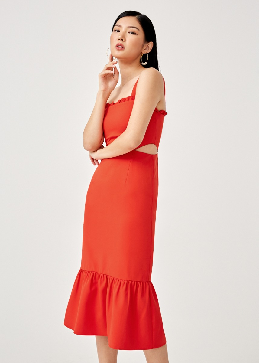 Vanessa Ruffle Hem Midi Dress